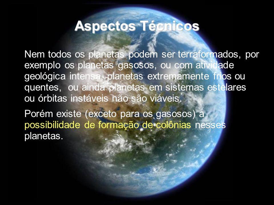 Aspectos Técnicos Nem todos os planetas podem ser terraformados, por exemplo os planetas gasosos, ou com atividade geológica intensa, planetas extrema