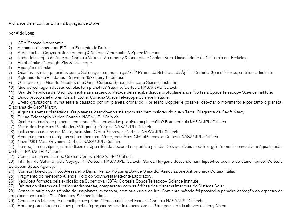 Fontes recomendadas SETI@home http://setiathome.berkeley.edu Are we alone?: Beyond the drake equation. http://www.station1.net/douglasjones/drake.htm