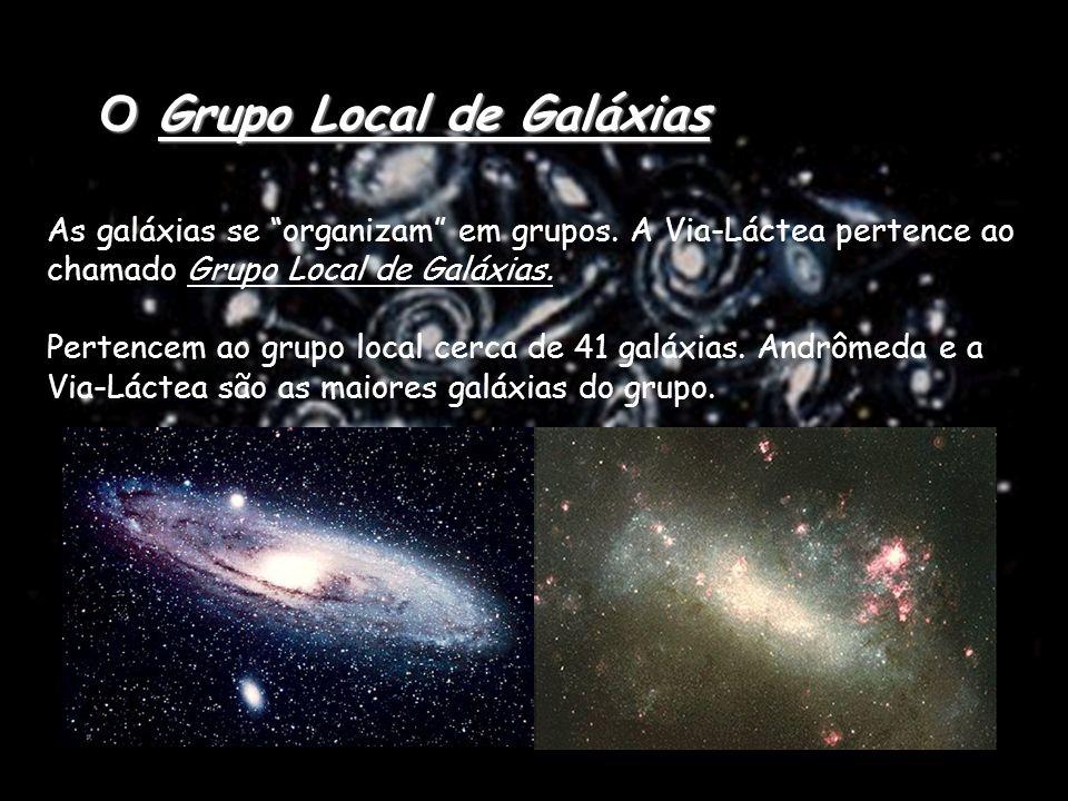 Grupos de galáxias : Conjunto de galáxias onde pelo menos 12 delas são mais luminosas que mag. absoluta -16 e estejam dentro de um raio mínimo de 1Mps