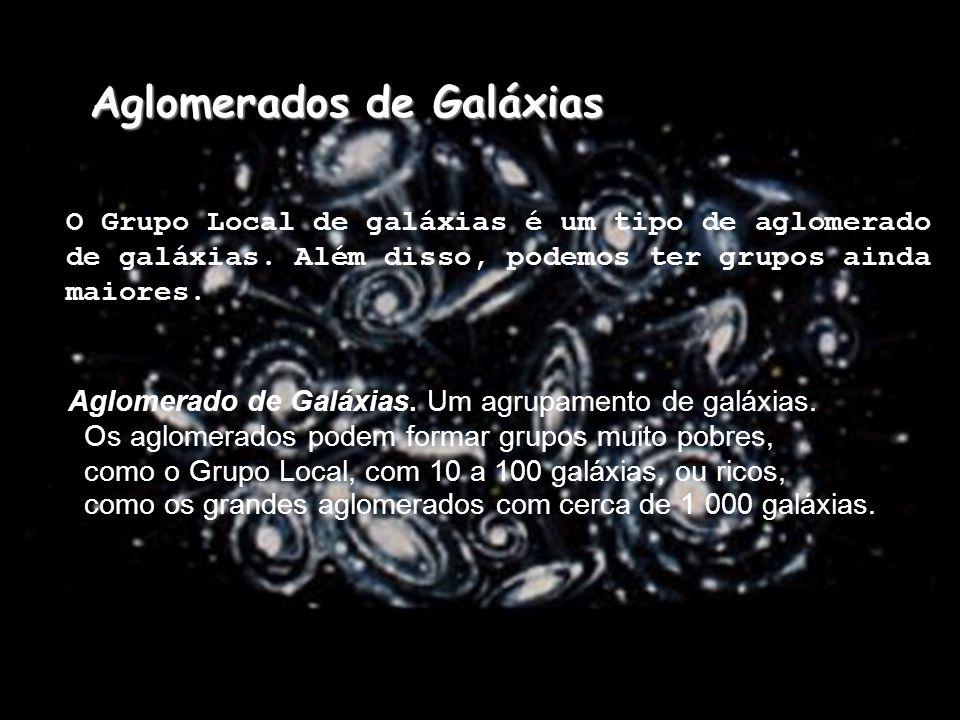 Aglomerados de Galáxias O Grupo Local de galáxias é um tipo de aglomerado de galáxias. Além disso, podemos ter grupos ainda maiores. Aglomerado de Gal