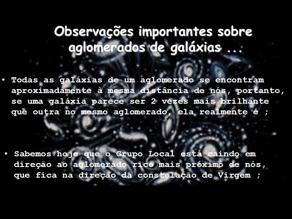 Observações importantes sobre aglomerados de galáxias... Todas as galáxias de um aglomerado se encontram aproximadamente à mesma distância de nós, por