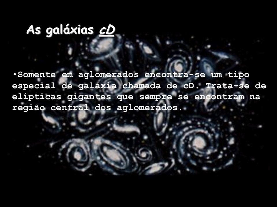 As galáxias cD Somente em aglomerados encontra-se um tipo especial de galáxia chamada de cD. Trata-se de elípticas gigantes que sempre se encontram na