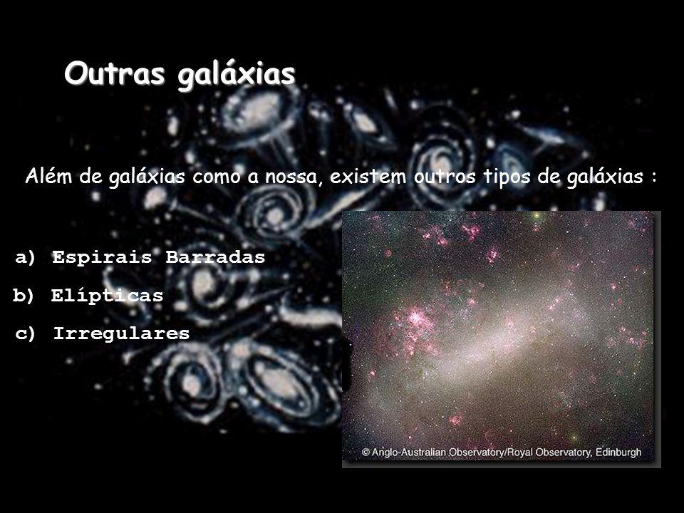Além de galáxias como a nossa, existem outros tipos de galáxias : a) Espirais Barradas b) Elípticas c) Irregulares Outras galáxias