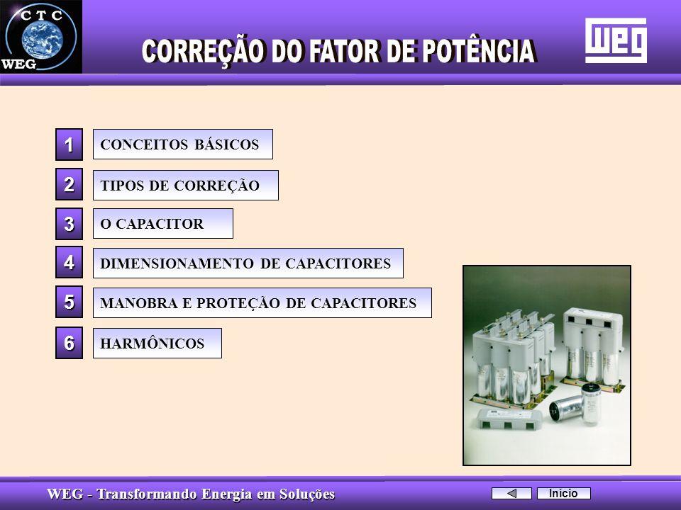 WEG - Transformando Energia em Soluções CONCEITOS BÁSICOS O CAPACITOR MANOBRA E PROTEÇÃO DE CAPACITORES 3333 5555 1111HARMÔNICOS 6666 TIPOS DE CORREÇÃ