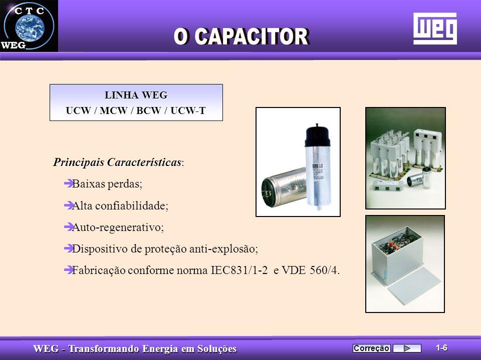 WEG - Transformando Energia em Soluções LINHA WEG UCW / MCW / BCW / UCW-T Principais Características Principais Características : è è Baixas perdas; è