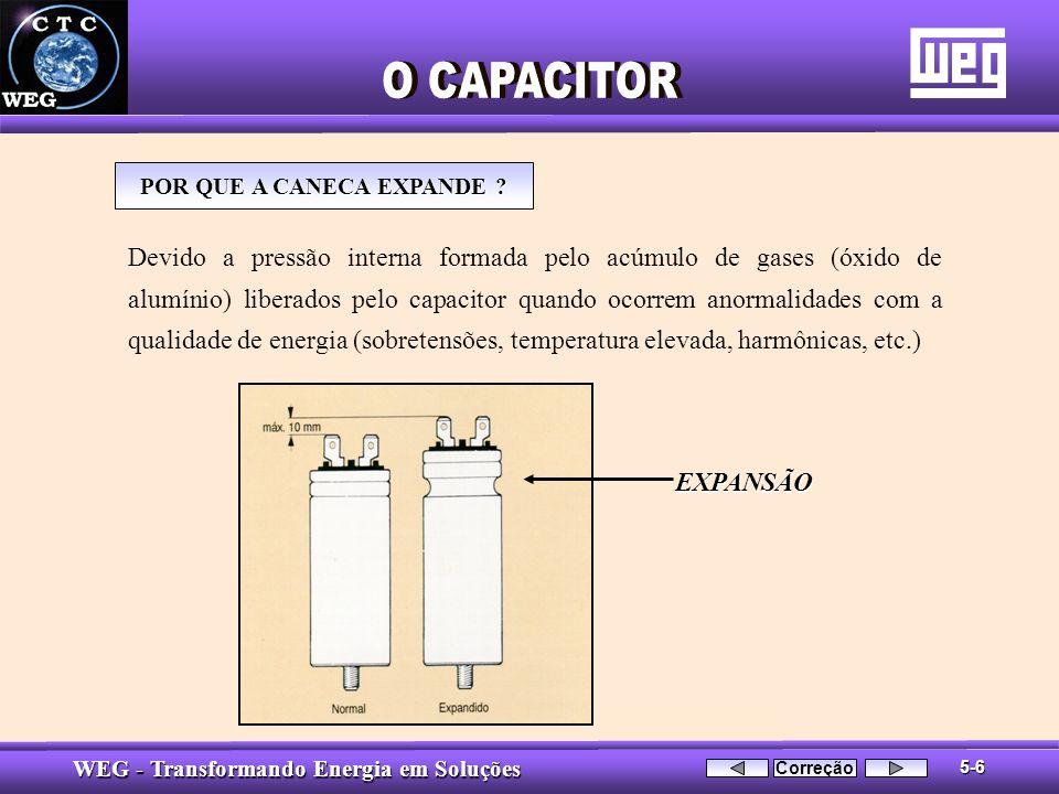 WEG - Transformando Energia em Soluções Devido a pressão interna formada pelo acúmulo de gases (óxido de alumínio) liberados pelo capacitor quando oco