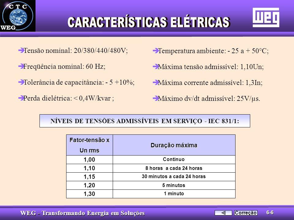 WEG - Transformando Energia em Soluções è è Tensão nominal: 20/380/440/480V; è è Freqüência nominal: 60 Hz; è è Tolerância de capacitância: - 5 +10%;