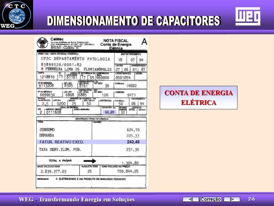 WEG - Transformando Energia em Soluções FATUR. REATIVO EXED. 243,46 66,20 CONTA DE ENERGIA ELÉTRICA 2-5 Correção