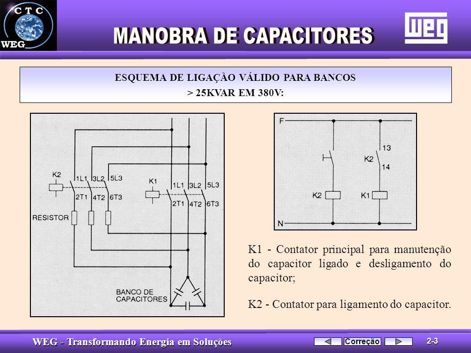 WEG - Transformando Energia em Soluções ESQUEMA DE LIGAÇÃO VÁLIDO PARA BANCOS > 25KVAR EM 380V: K1 - Contator principal para manutenção do capacitor l