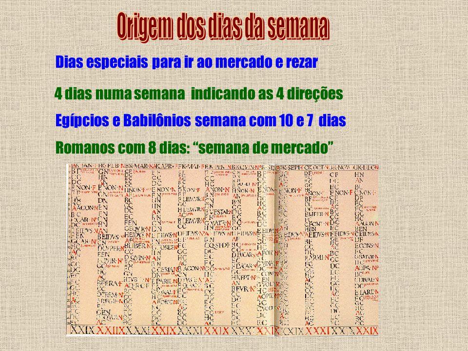 Dias especiais para ir ao mercado e rezar 4 dias numa semana indicando as 4 direções Egípcios e Babilônios semana com 10 e 7 dias Romanos com 8 dias: semana de mercado