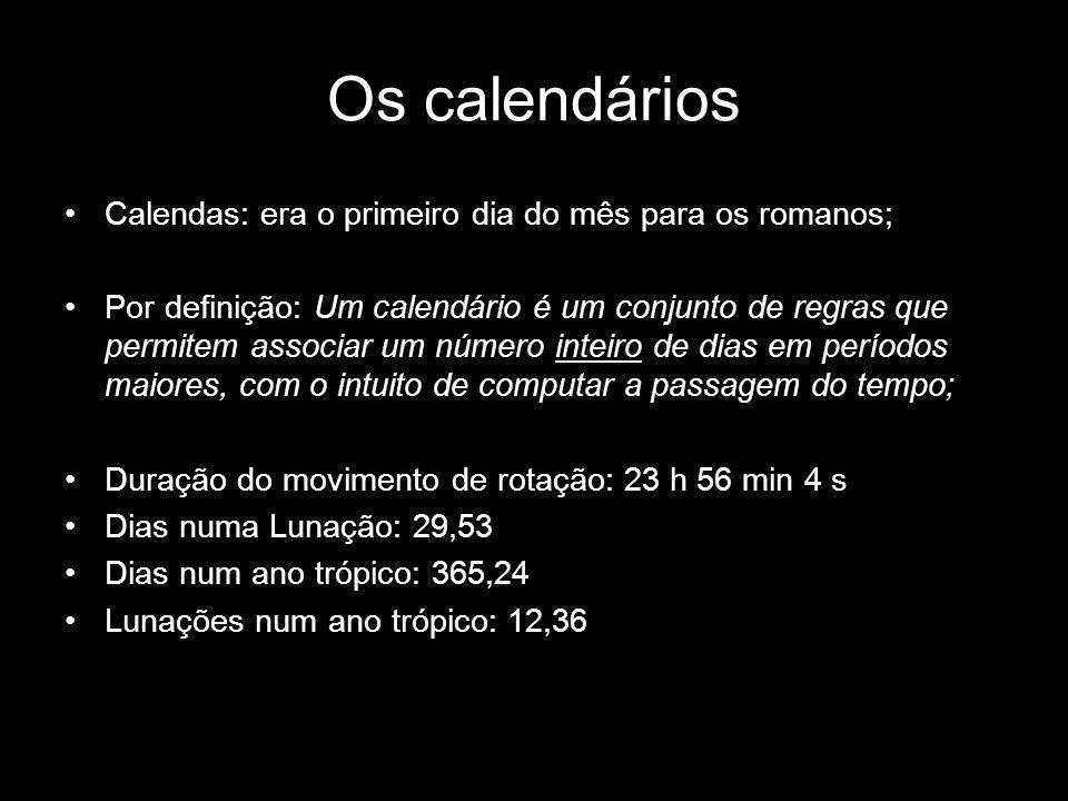 Calendas: era o primeiro dia do mês para os romanos; Por definição: Um calendário é um conjunto de regras que permitem associar um número inteiro de d
