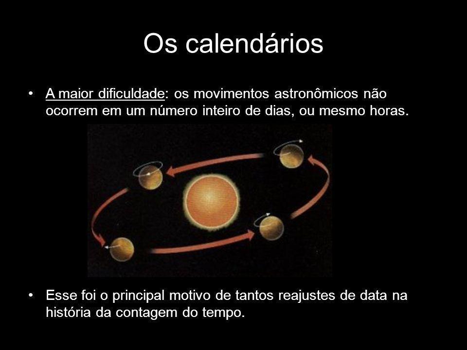 Os calendários A maior dificuldade: os movimentos astronômicos não ocorrem em um número inteiro de dias, ou mesmo horas. Esse foi o principal motivo d