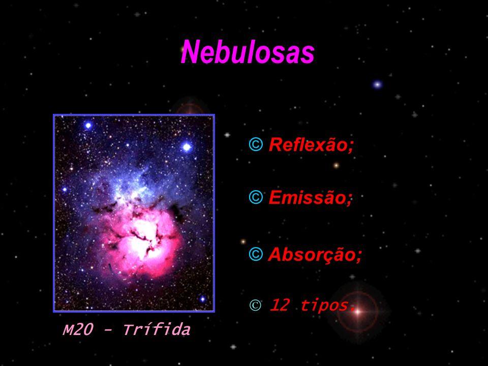 Nebulosas © Reflexão; © Emissão; © Absorção; M20 - Trífida 12 tipos.