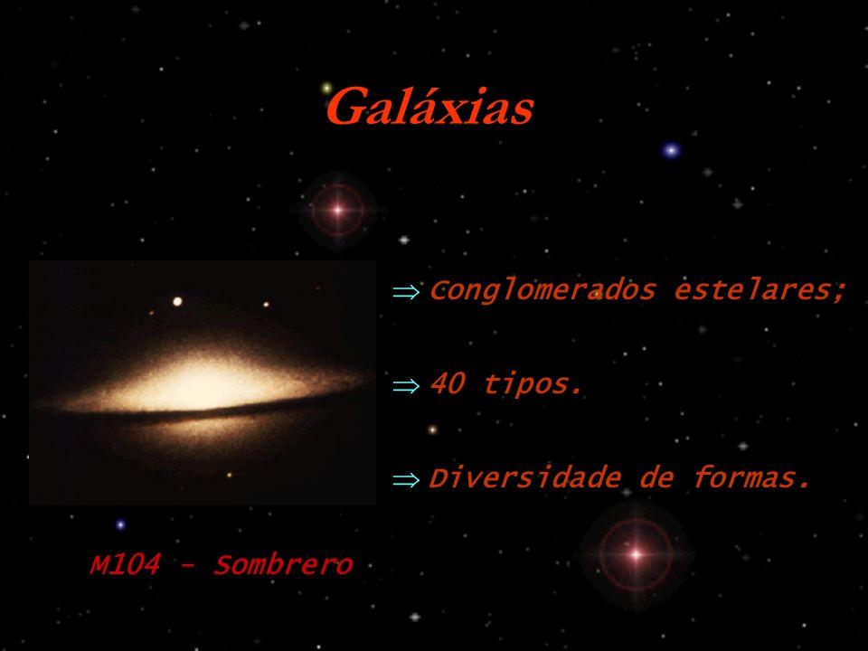 Galáxias Conglomerados estelares; Diversidade de formas. 40 tipos. M104 - Sombrero