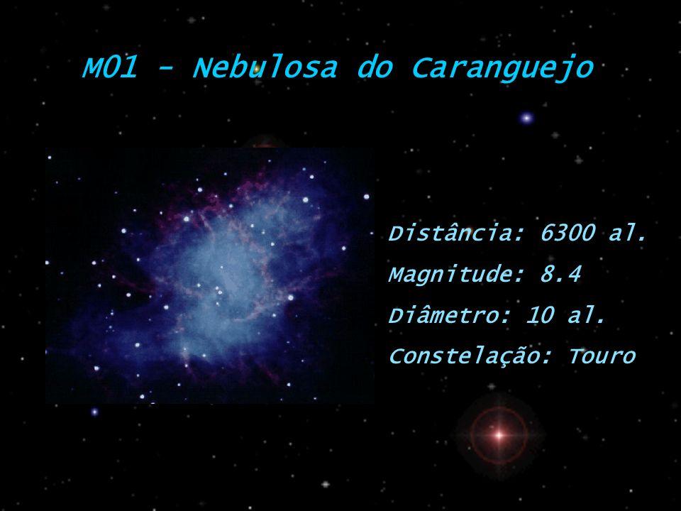 M01 - Nebulosa do Caranguejo Distância: 6300 al. Magnitude: 8.4 Diâmetro: 10 al. Constelação: Touro