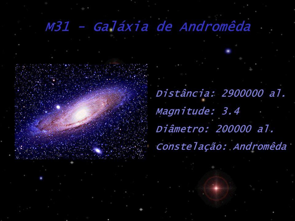 M31 - Galáxia de Andromêda Distância: 2900000 al. Magnitude: 3.4 Diâmetro: 200000 al. Constelação: Andromêda