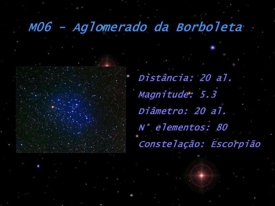 M06 - Aglomerado da Borboleta Distância: 20 al. Magnitude: 5.3 Diâmetro: 20 al. N° elementos: 80 Constelação: Escorpião