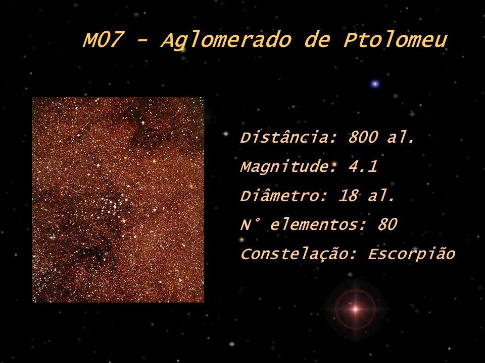 M07 - Aglomerado de Ptolomeu Distância: 800 al. Magnitude: 4.1 Diâmetro: 18 al. N° elementos: 80 Constelação: Escorpião