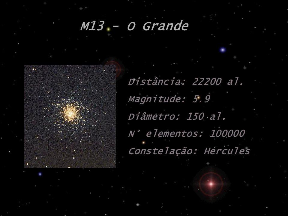M13 - O Grande Distância: 22200 al. Magnitude: 5.9 Diâmetro: 150 al. N° elementos: 100000 Constelação: Hércules