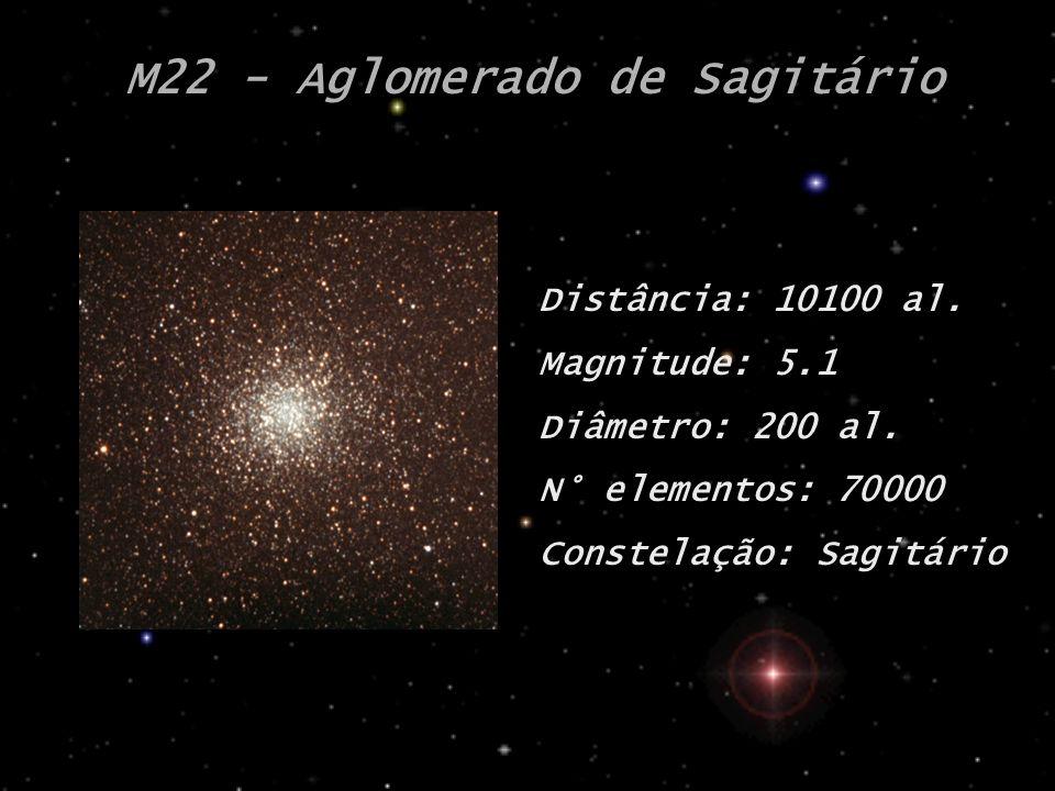 M22 - Aglomerado de Sagitário Distância: 10100 al. Magnitude: 5.1 Diâmetro: 200 al. N° elementos: 70000 Constelação: Sagitário