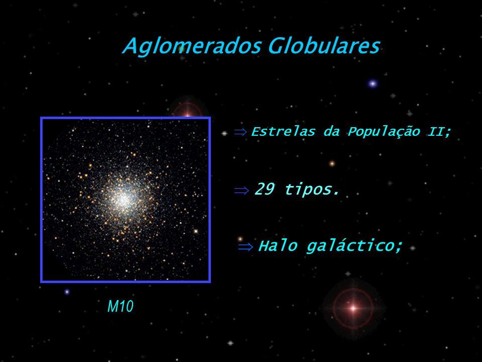 Aglomerados Globulares Estrelas da População II; Halo galáctico; M10 29 tipos.