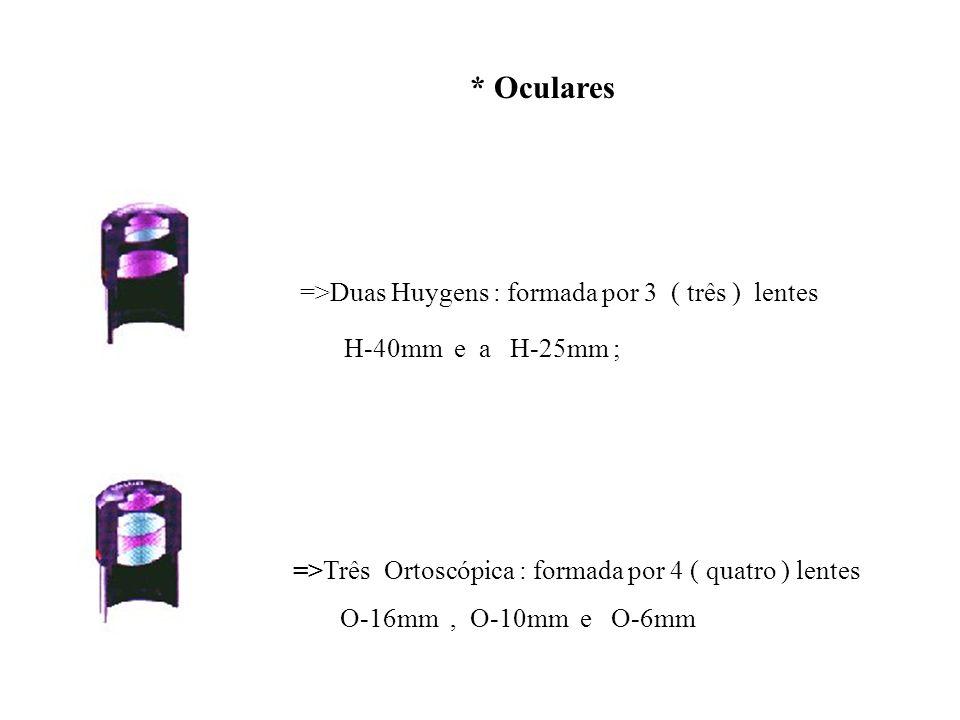 * Oculares =>Duas Huygens : formada por 3 ( três ) lentes H-40mm e a H-25mm ; =>Três Ortoscópica : formada por 4 ( quatro ) lentes O-16mm, O-10mm e O-