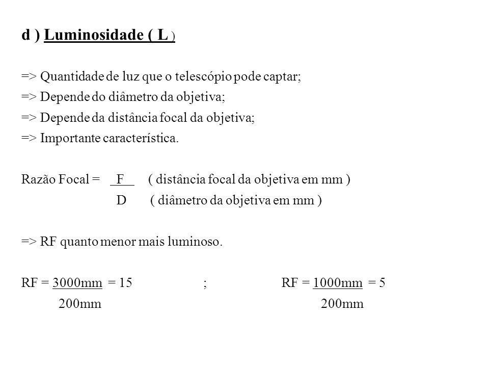 d ) Luminosidade ( L ) => Quantidade de luz que o telescópio pode captar; => Depende do diâmetro da objetiva; => Depende da distância focal da objetiv
