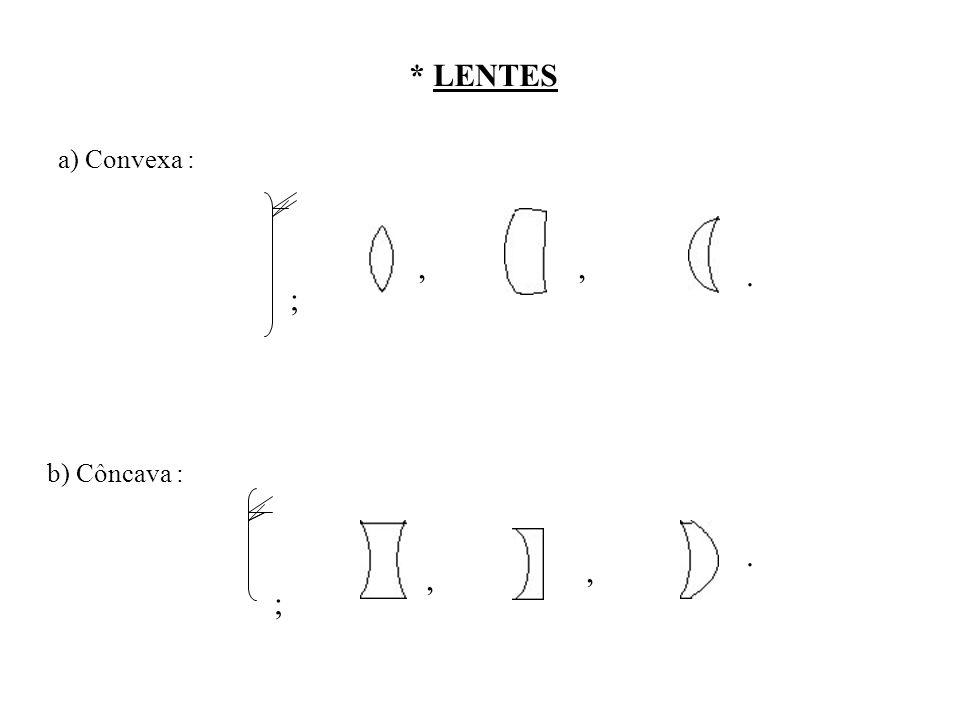 * LENTES a) Convexa : b) Côncava : ;,,. ;,,.