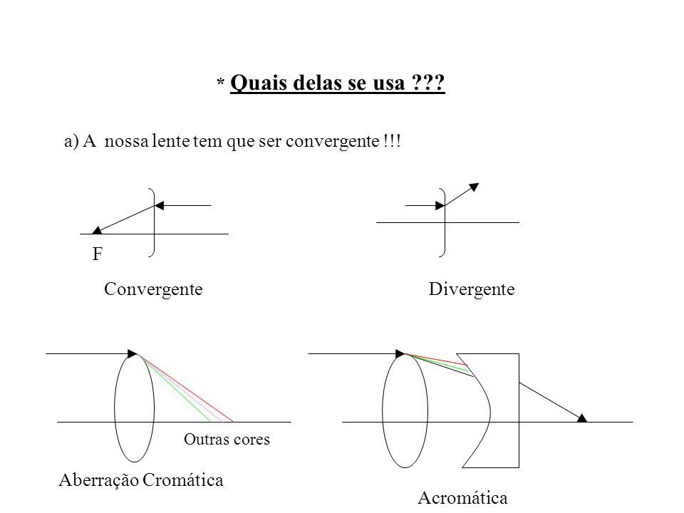 * Quais delas se usa ??? a) A nossa lente tem que ser convergente !!! F Convergente Divergente Aberração Cromática Acromática Outras cores