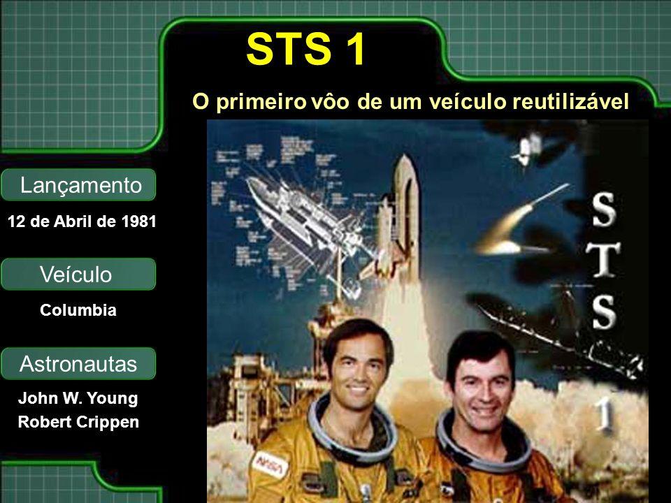 STS 1 O primeiro vôo de um veículo reutilizável Lançamento Veículo Astronautas 12 de Abril de 1981 Columbia John W. Young Robert Crippen