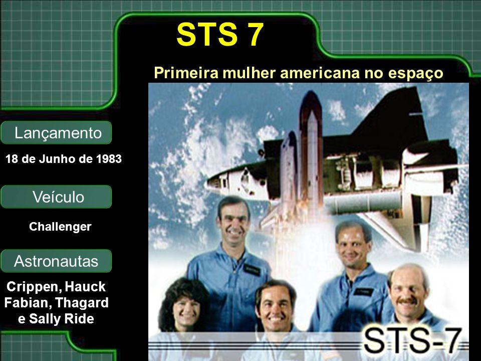 STS 7 Primeira mulher americana no espaço Lançamento Veículo Astronautas 18 de Junho de 1983 Challenger Crippen, Hauck Fabian, Thagard e Sally Ride