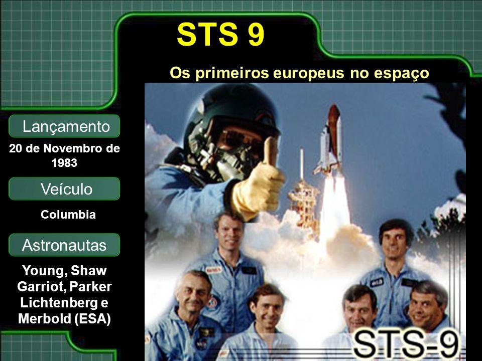 Lançamento Veículo Astronautas 20 de Novembro de 1983 Columbia Young, Shaw Garriot, Parker Lichtenberg e Merbold (ESA) STS 9 Os primeiros europeus no espaço
