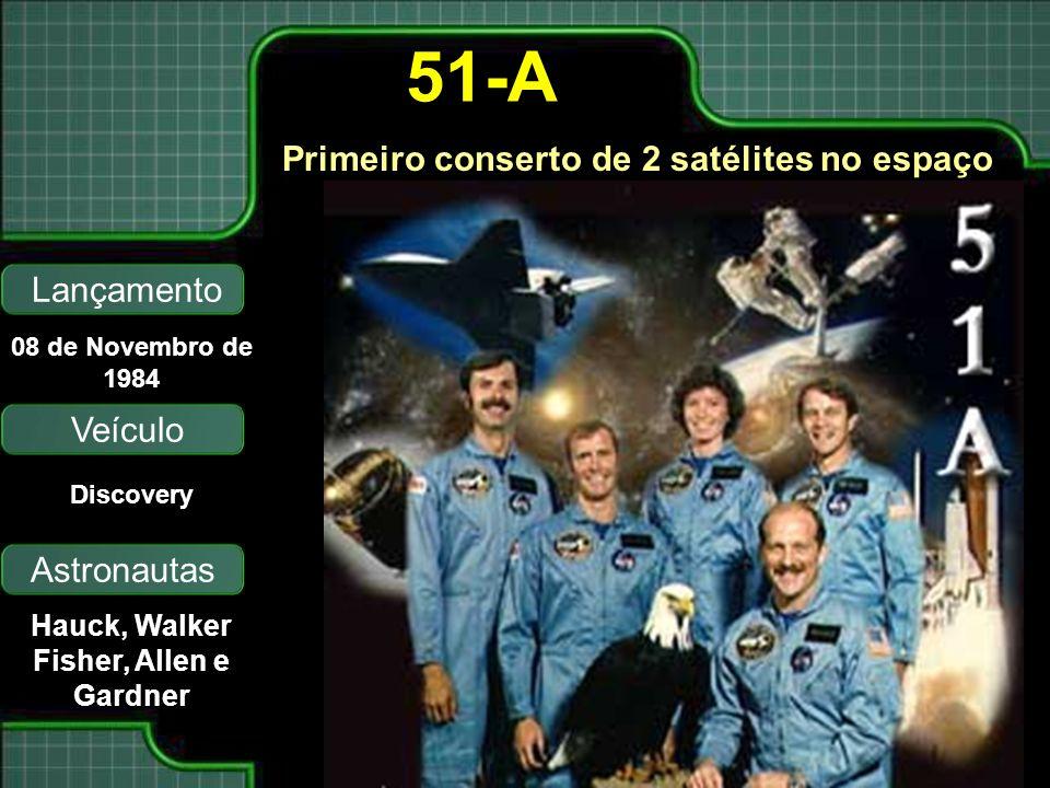Primeiro conserto de 2 satélites no espaço Lançamento Astronautas 08 de Novembro de 1984 Hauck, Walker Fisher, Allen e Gardner 51-A Veículo Discovery