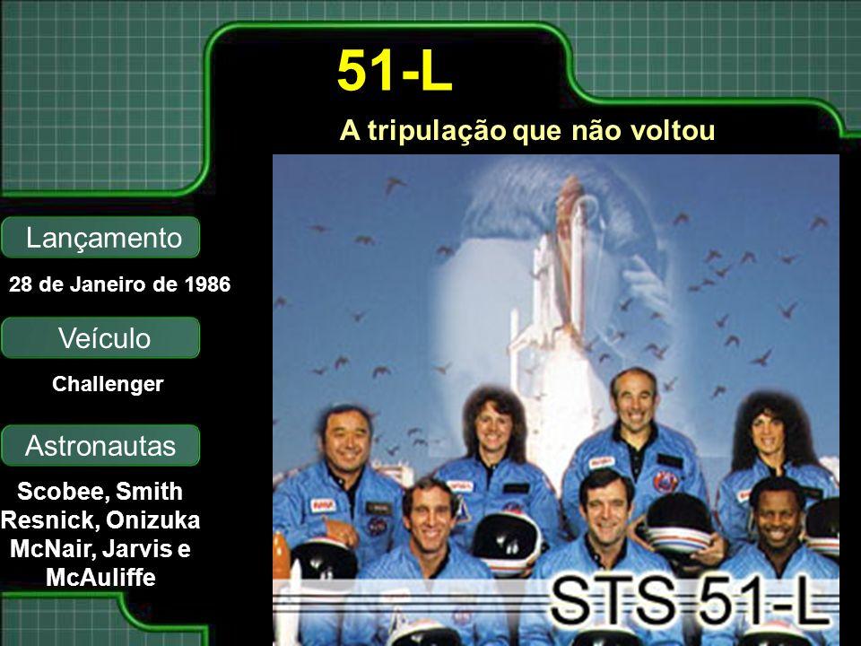 A tripulação que não voltou Lançamento Astronautas 28 de Janeiro de 1986 Scobee, Smith Resnick, Onizuka McNair, Jarvis e McAuliffe 51-L Veículo Challe