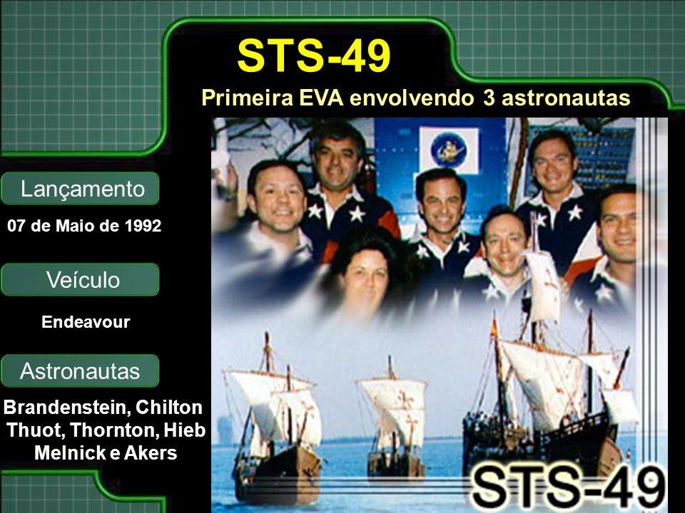 Primeira EVA envolvendo 3 astronautas Lançamento Astronautas 07 de Maio de 1992 Brandenstein, Chilton Thuot, Thornton, Hieb Melnick e Akers STS-49 Veículo Endeavour