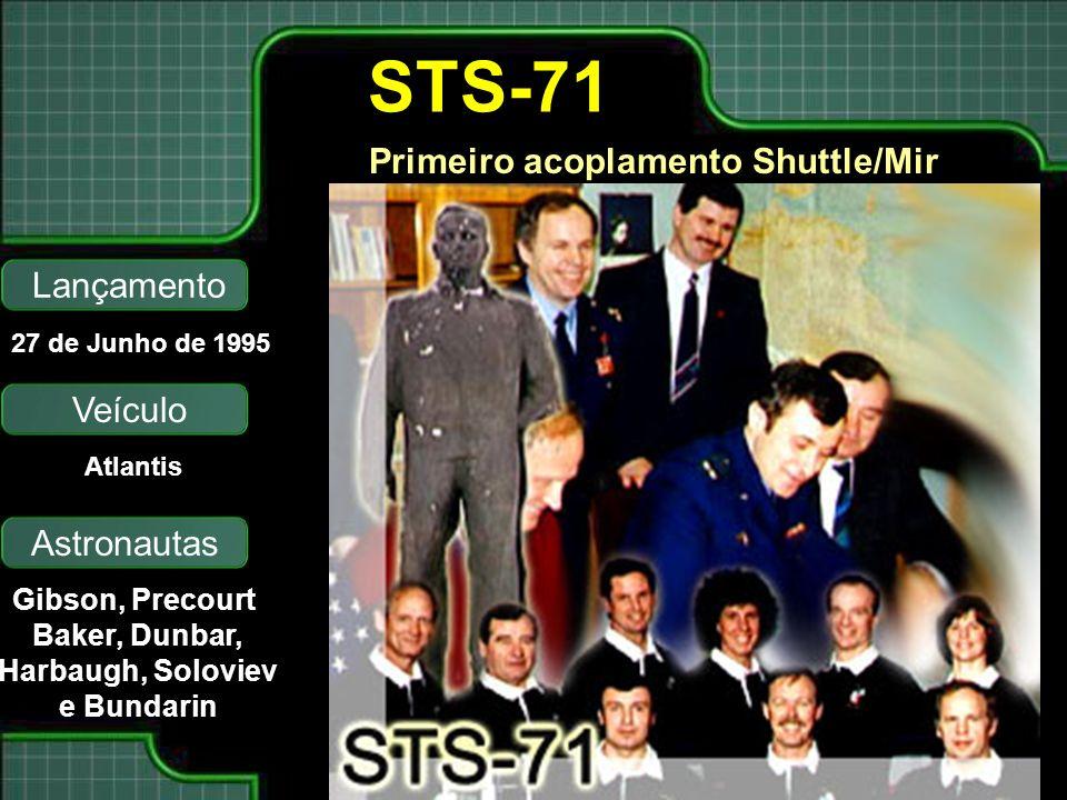 Primeiro acoplamento Shuttle/Mir Lançamento Astronautas 27 de Junho de 1995 Gibson, Precourt Baker, Dunbar, Harbaugh, Soloviev e Bundarin STS-71 Veículo Atlantis