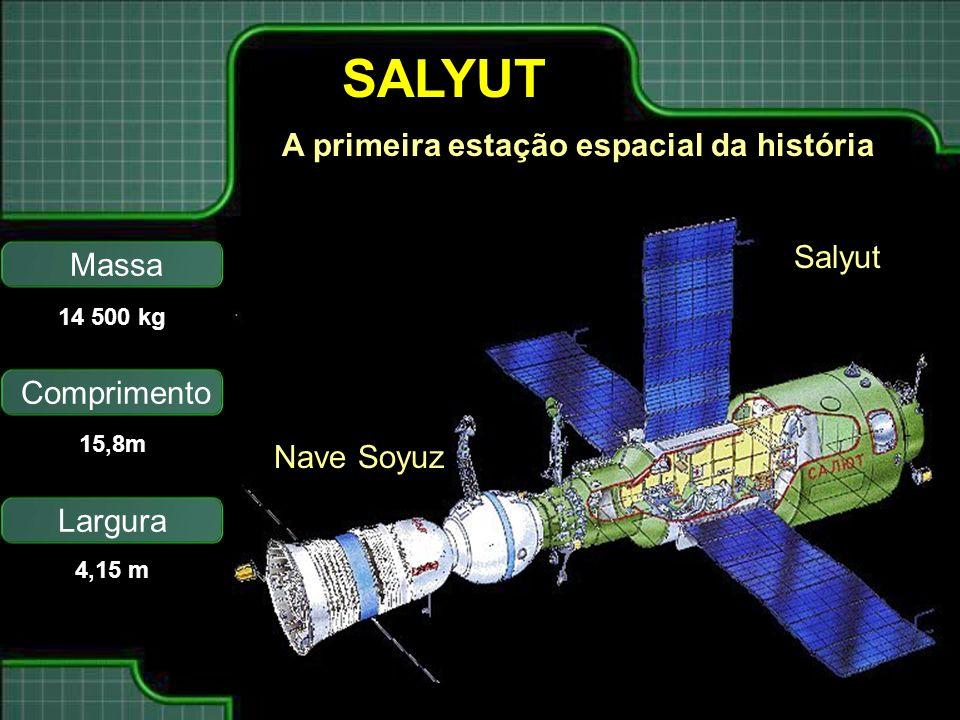 SALYUT Nave Soyuz Salyut Massa Comprimento Largura 14 500 kg 15,8m 4,15 m A primeira estação espacial da história