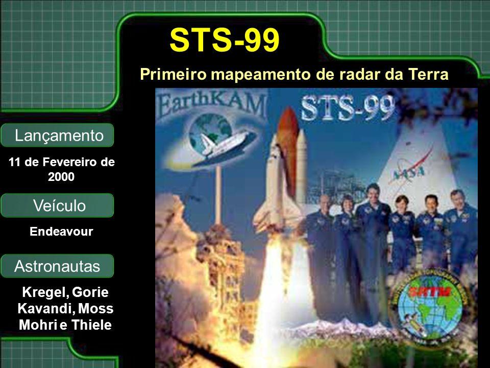 Primeiro mapeamento de radar da Terra Lançamento Astronautas 11 de Fevereiro de 2000 Kregel, Gorie Kavandi, Moss Mohri e Thiele STS-99 Veículo Endeavo