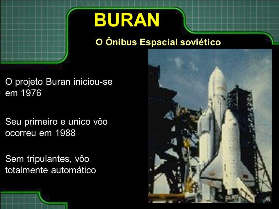 BURAN O Ônibus Espacial soviético O projeto Buran iniciou-se em 1976 Seu primeiro e unico vôo ocorreu em 1988 Sem tripulantes, vôo totalmente automáti