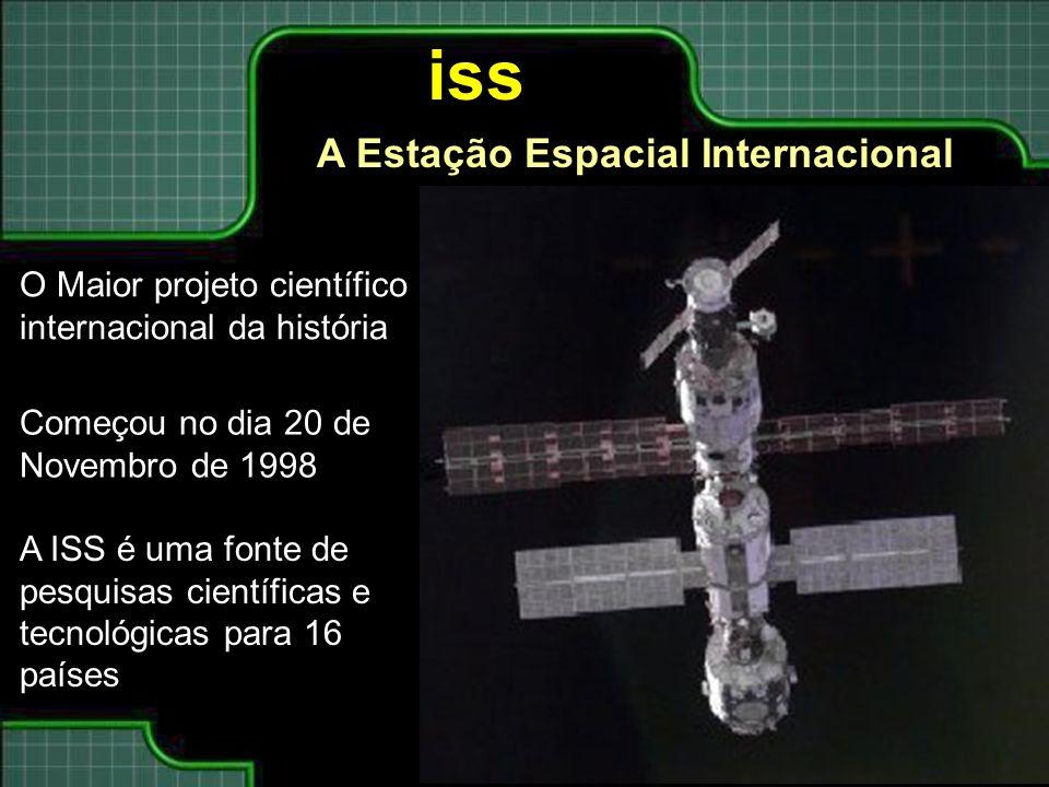 iss O Maior projeto científico internacional da história Começou no dia 20 de Novembro de 1998 A ISS é uma fonte de pesquisas científicas e tecnológicas para 16 países A Estação Espacial Internacional
