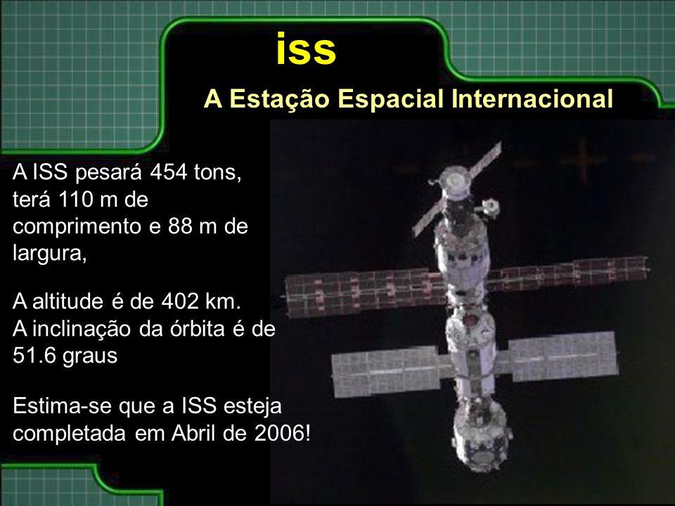 A ISS pesará 454 tons, terá 110 m de comprimento e 88 m de largura, A altitude é de 402 km. A inclinação da órbita é de 51.6 graus Estima-se que a ISS