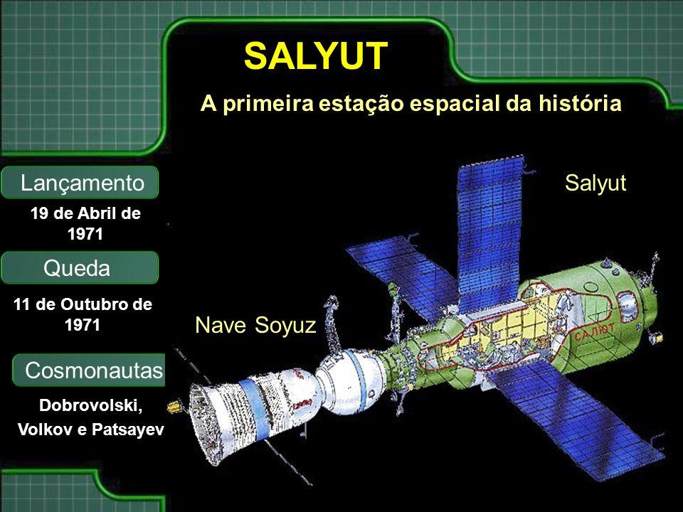 SALYUT A primeira estação espacial da história Lançamento Queda 19 de Abril de 1971 11 de Outubro de 1971 Cosmonautas Dobrovolski, Volkov e Patsayev Nave Soyuz Salyut