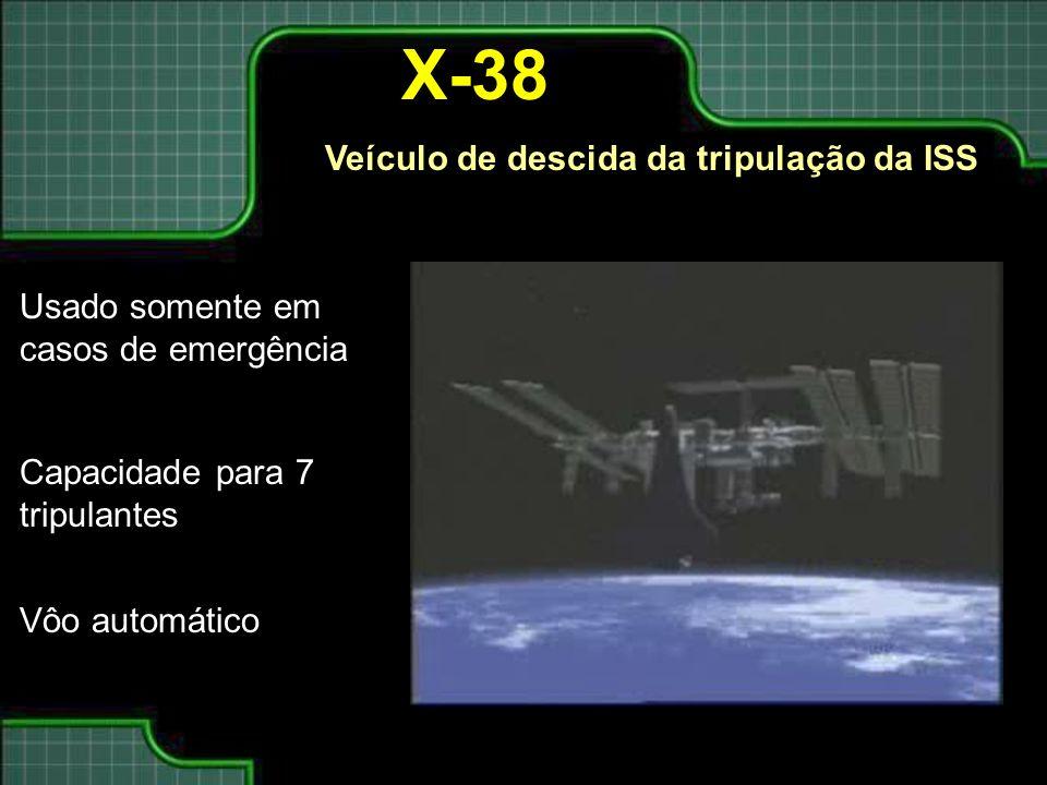 X-38 Veículo de descida da tripulação da ISS Usado somente em casos de emergência Capacidade para 7 tripulantes Vôo automático