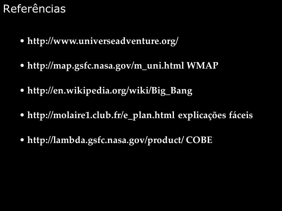 Referências http://www.universeadventure.org/ http://map.gsfc.nasa.gov/m_uni.html WMAP http://en.wikipedia.org/wiki/Big_Bang http://molaire1.club.fr/e