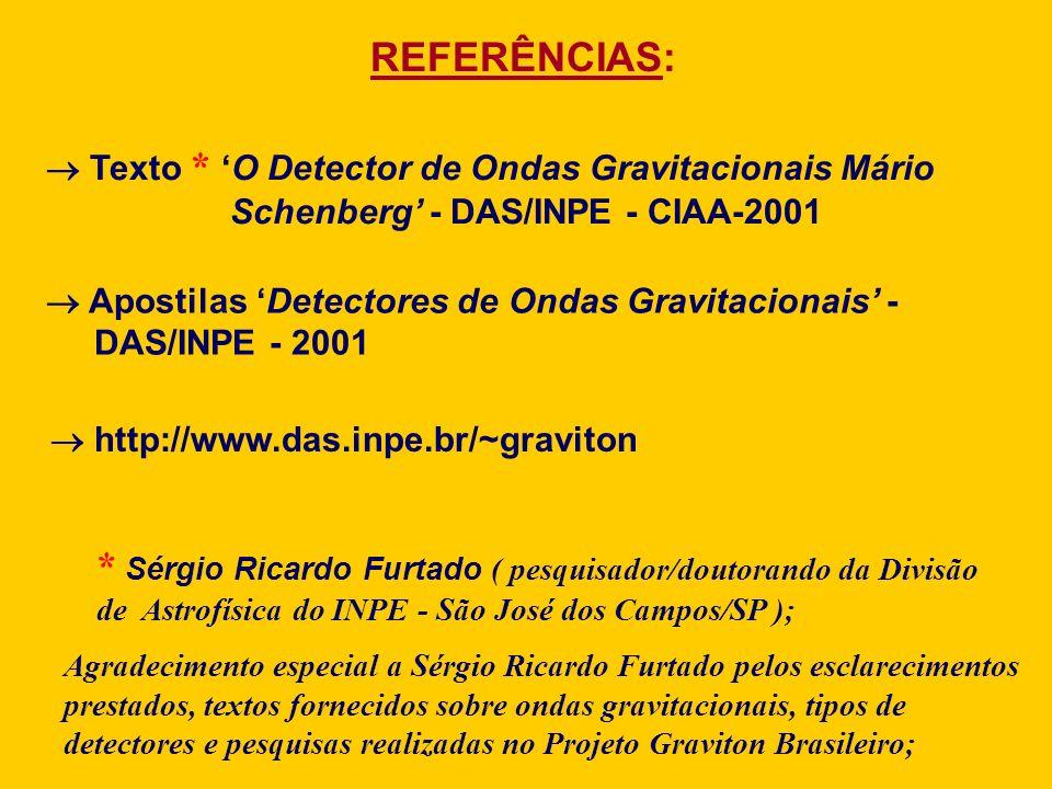 REFERÊNCIAS: Texto * O Detector de Ondas Gravitacionais Mário Schenberg - DAS/INPE - CIAA-2001 * Sérgio Ricardo Furtado ( pesquisador/doutorando da Di