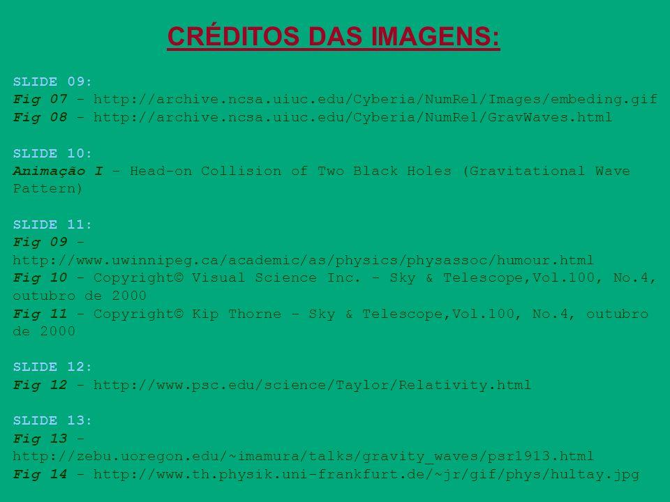 CRÉDITOS DAS IMAGENS: SLIDE 09: Fig 07 - http://archive.ncsa.uiuc.edu/Cyberia/NumRel/Images/embeding.gif Fig 08 - http://archive.ncsa.uiuc.edu/Cyberia