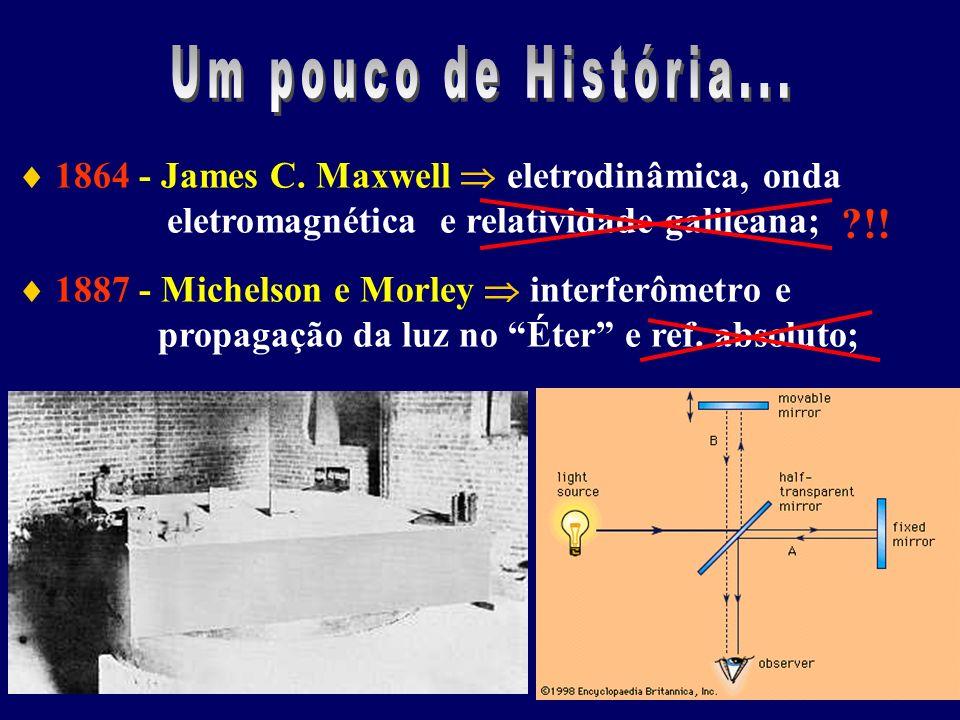 1864 - James C. Maxwell eletrodinâmica, onda eletromagnética e relatividade galileana; 1887 - Michelson e Morley interferômetro e propagação da luz no