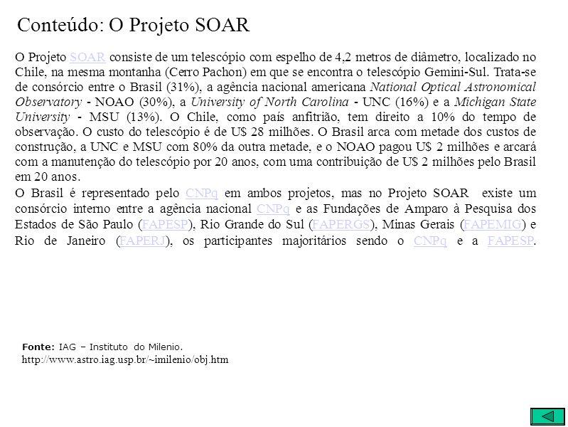 Conteúdo: O Projeto SOAR O Projeto SOAR consiste de um telescópio com espelho de 4,2 metros de diâmetro, localizado no Chile, na mesma montanha (Cerro Pachon) em que se encontra o telescópio Gemini-Sul.
