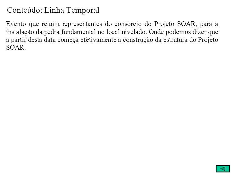 Conteúdo: Linha Temporal Evento que reuniu representantes do consorcio do Projeto SOAR, para a instalação da pedra fundamental no local nivelado.