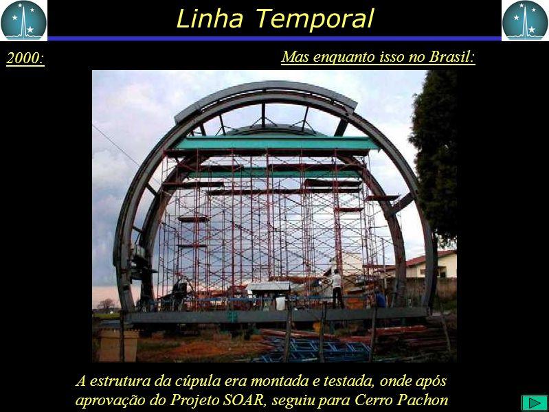 Linha Temporal 2000: Mas enquanto isso no Brasil: A estrutura da cúpula era montada e testada, onde após aprovação do Projeto SOAR, seguiu para Cerro Pachon
